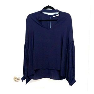 Francesca's navy long sleeve blouse